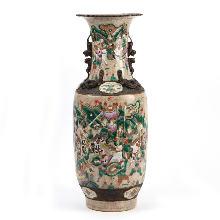 CHINESE ENAMELED PORCELAIN BALUSTER VASE