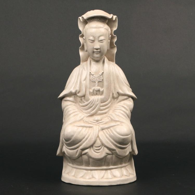GLAZED CERAMIC FIGURE OF GUAN YIN