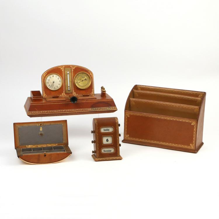 (4pc) LEATHER DESK SET