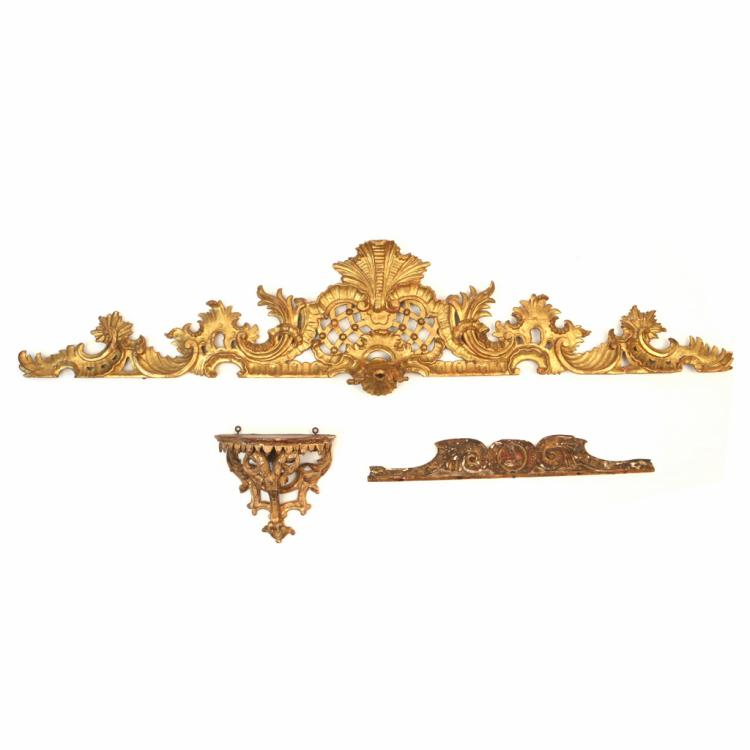 (3pc) ITALIAN GILT CARVED WALL APPLIQUÉS