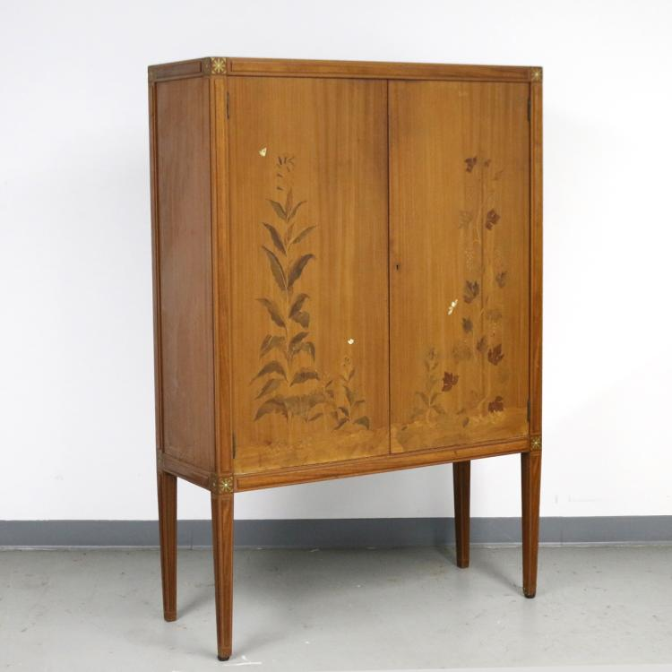 ART DECO INLAID BAR CABINET