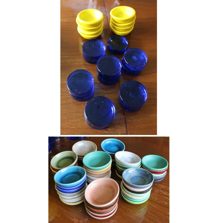 (80pc) CERAMIC MASTER SALTS & LUCITE COASTERS