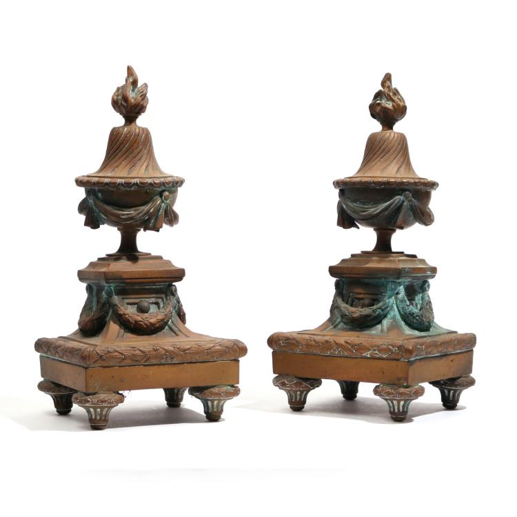 PAIR FRENCH ORMOLU CHENETS