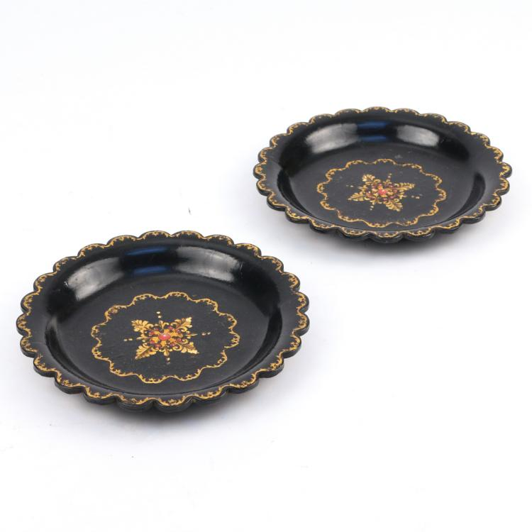 PAIR REGENCY PAPIER MACHE WINE COASTERS