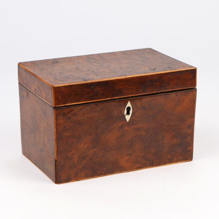 ENGLISH INLAID WALNUT TEA CADDY