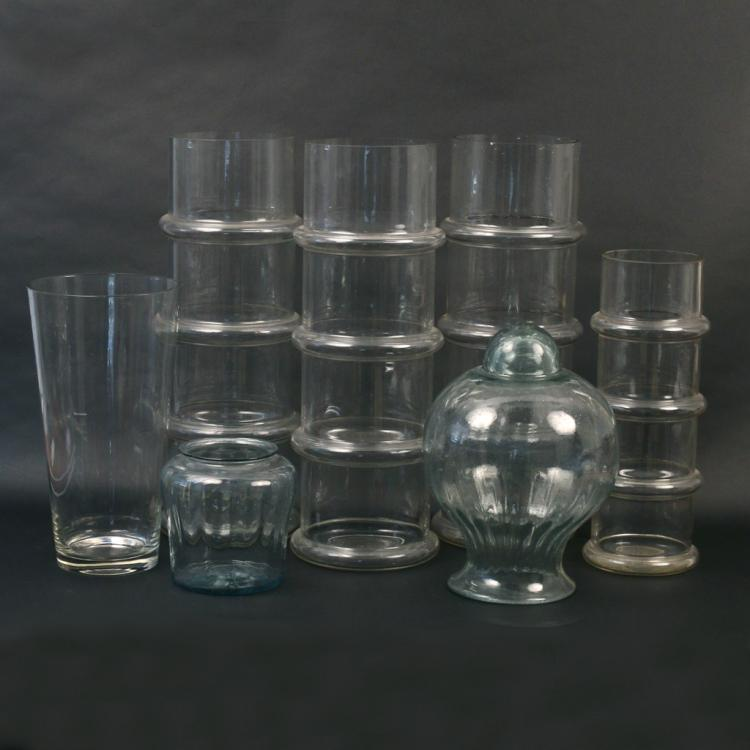 (7pc) MISC. CLEAR GLASS VASES & OTHER