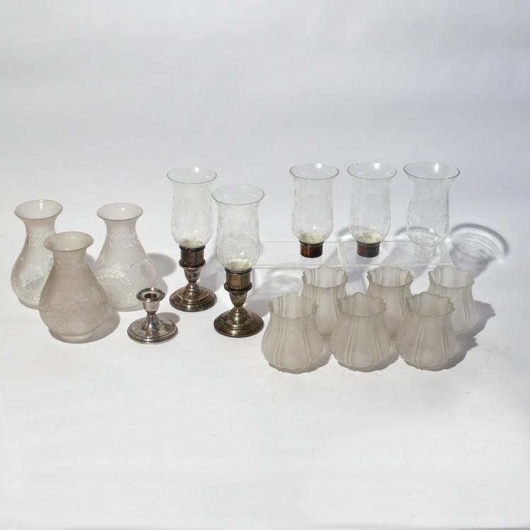 (15pc) GLASS SHADES AND OTHER