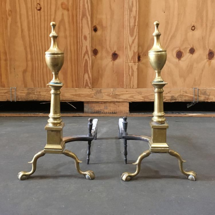 PAIR BRASS BALL & CLAW ANDIRONS