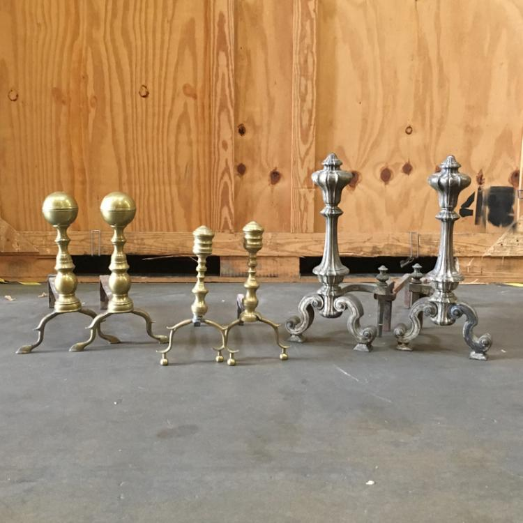 (6pc) THREE PAIRS ANDIRONS