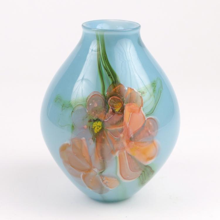 FORAL ART GLASS VASE