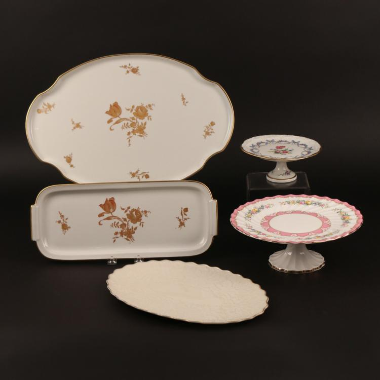 (5pc) PLATTERS AND CAKE STANDS