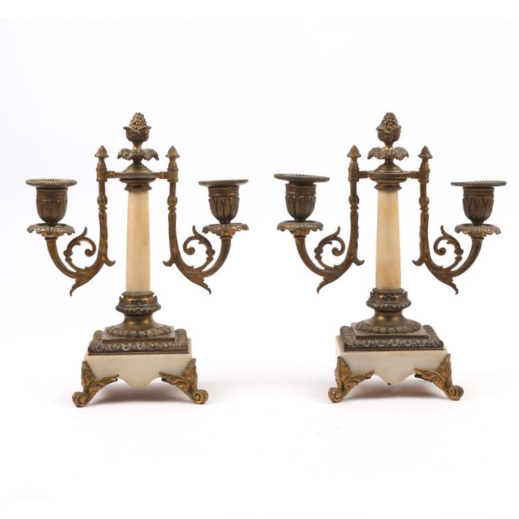PAIR 2-LIGHT ORMOLU-MOUNTED CANDELABRAS