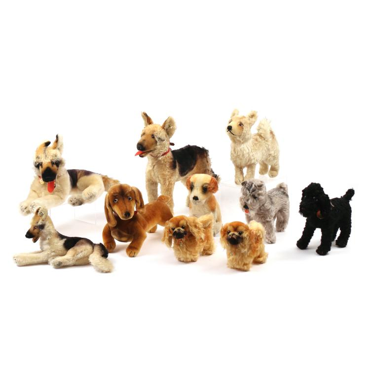 (10pc) STEIFF STUFFED DOGS