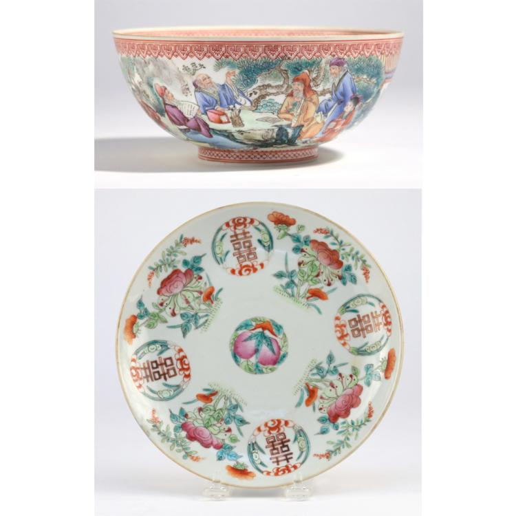 (2pc) CHINESE EGGSHELL PORCELAIN BOWL & PEACH DISH