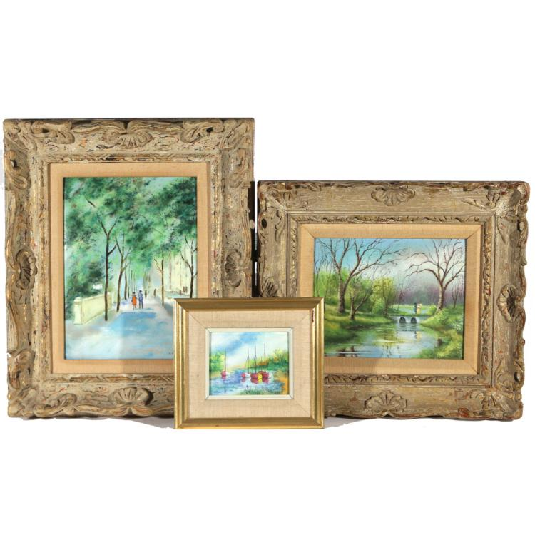 (3pc) ENAMELLED PAINTINGS ON COPPER
