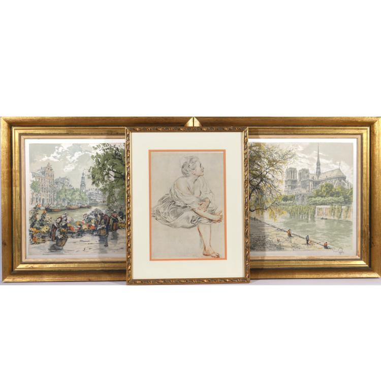 (3pc) TWO COLORED INTAGLIO PRINTS ON FABRIC