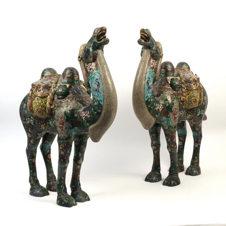 PAIR OF MONUMENTAL CLOISSONE CAMELS