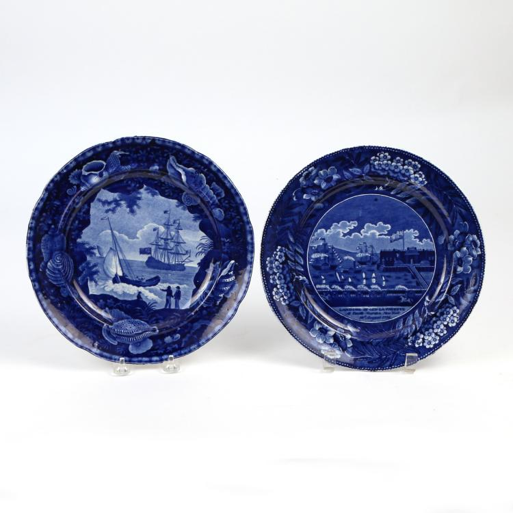 (2pc) DARK BLUE STAFFORDSHIRE HISTORIC PLATES