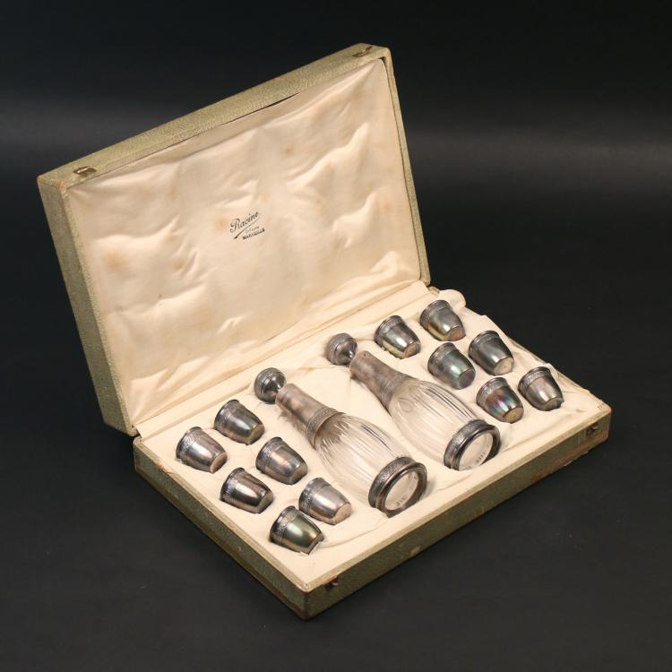 BOXED FRENCH SILVER DECANTER SET
