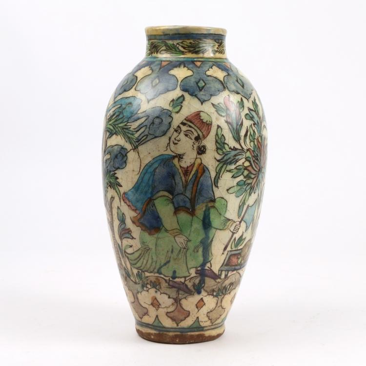 PERSIAN FAIENCE OVOID VASE