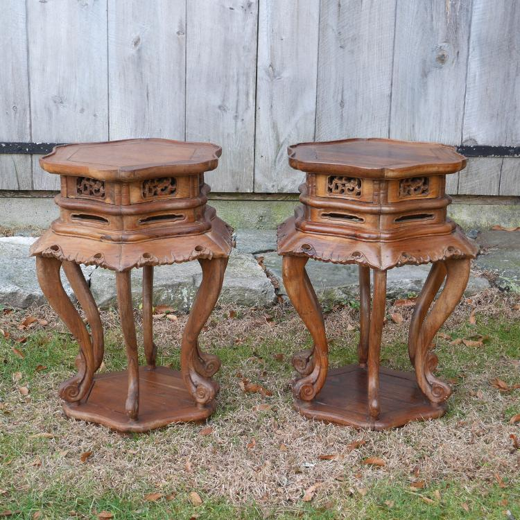 PAIR CHINESE HEXAGONAL STANDS