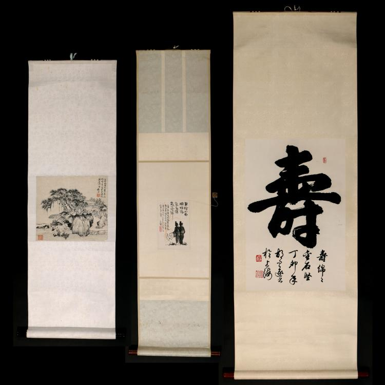 (3pc) MISC. CHINESE HANGING SCROLLS