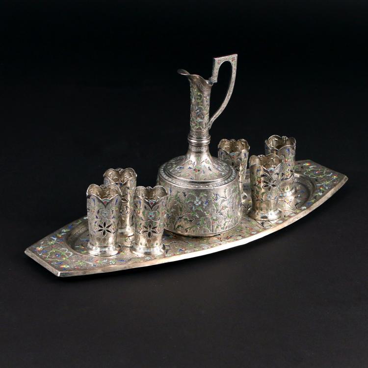 (8pc) PERSIAN SILVER & ENAMEL TEA SET