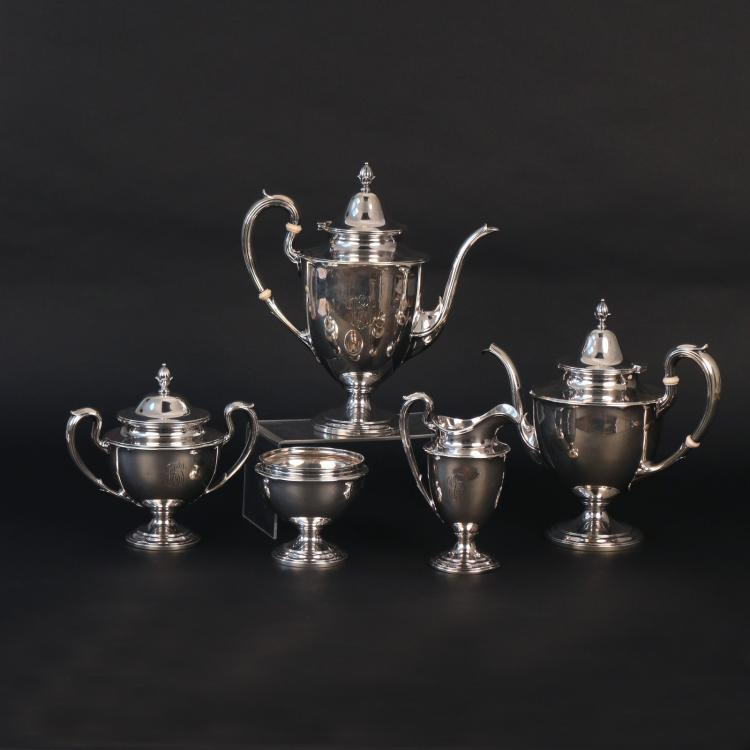 (5pc) GORHAM & CO. STERLING COFFEE & TEA SET