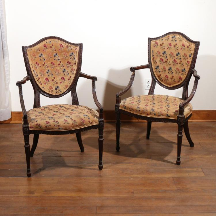 PAIR SHIELD-BACK CARVED MAHOGANY ARMCHAIRS