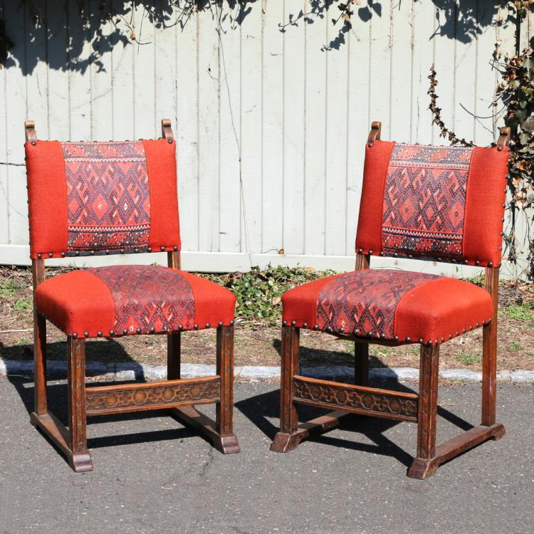 PAIR BAROQUE REVIVAL OAK SIDE CHAIRS
