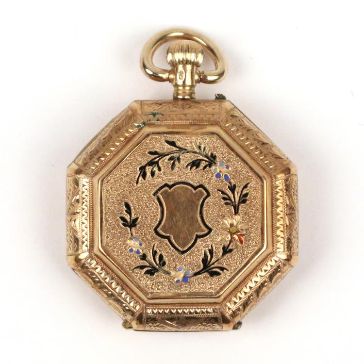 FRENCH 14k GOLD & ENAMEL PENDANT WATCH