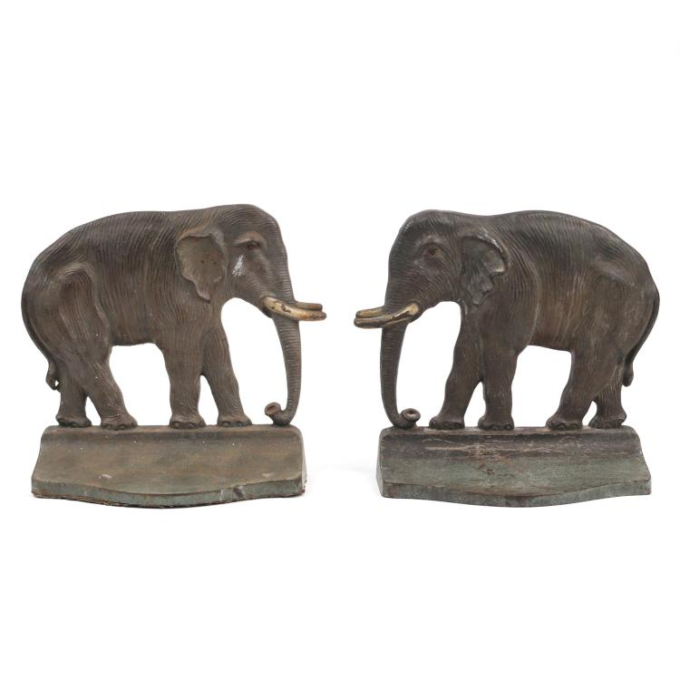 PAIR RARE PAINTED ELEPHANT BOOKENDS