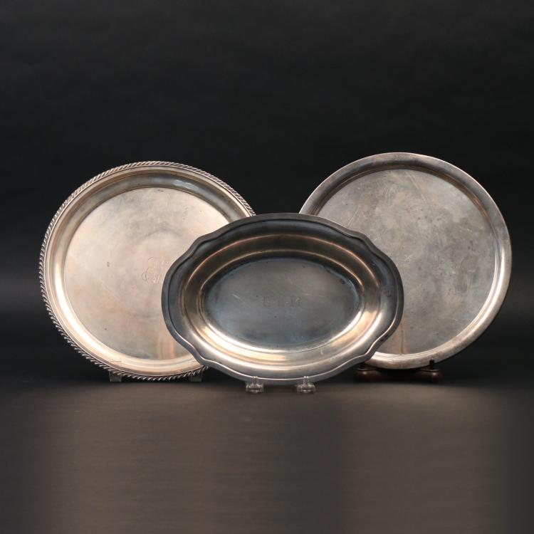 (3pc) GORHAM & OTHER STERLING SILVER TRAYS