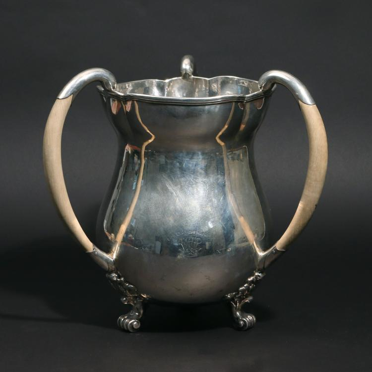GEORGE II SILVER TRIPLE HANDLE LOVING CUP