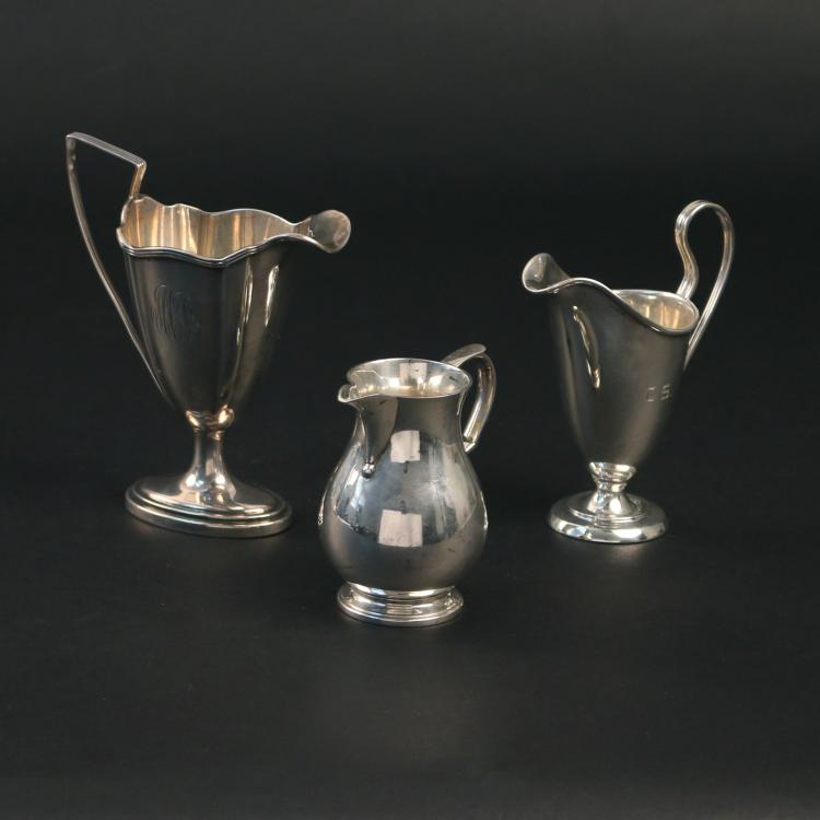 (3pc) STERLING SILVER CREAM PITCHERS: