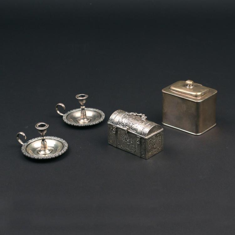 (4pc) MINIATURE STERLING CHAMBER STICKS