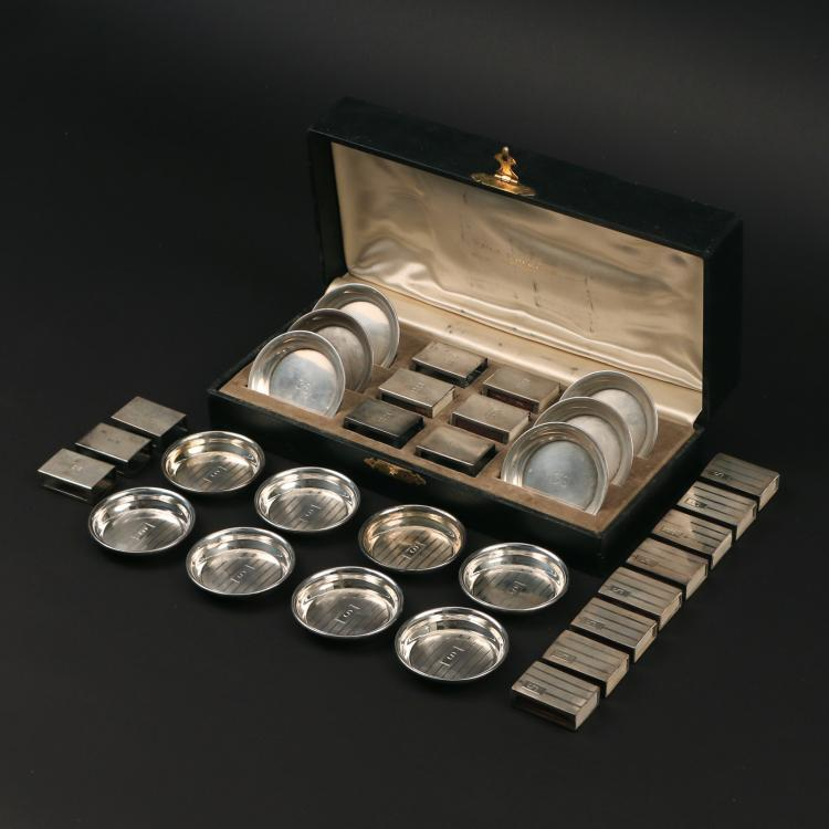(31pc) STERLING ASHTRAYS & MATCHBOX COVERS