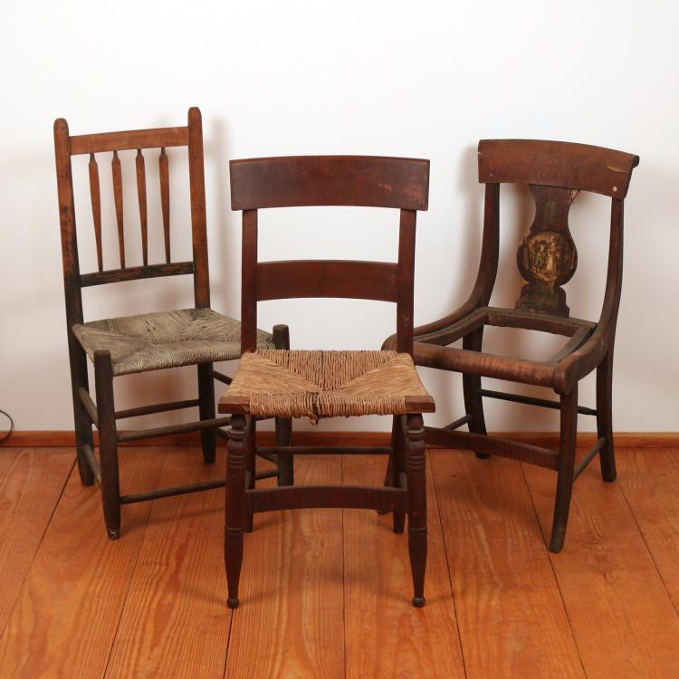 (3pc) MISC. ANTIQUE SIDE CHAIRS