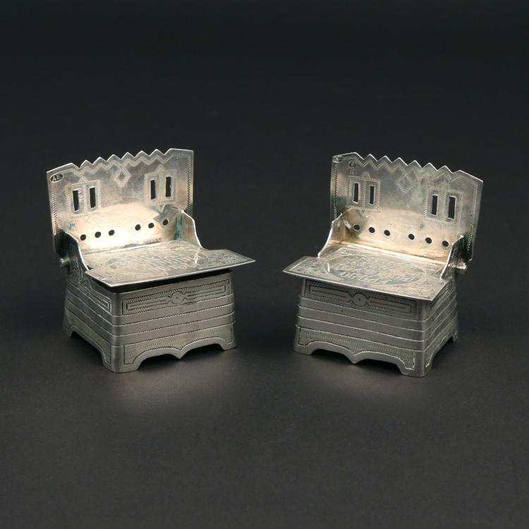PAIR RUSSIAN SILVER THRONE SALT CELLARS