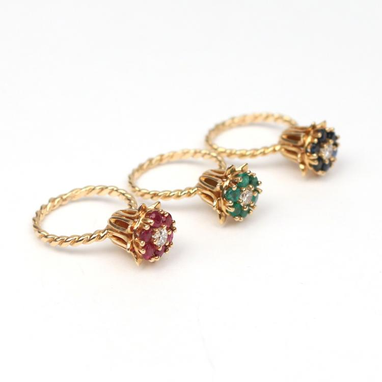 (3pc) FLOWER FORM RINGS