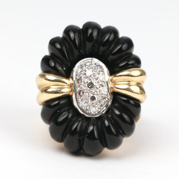 DIAMOND, GOLD, & ONYX RING