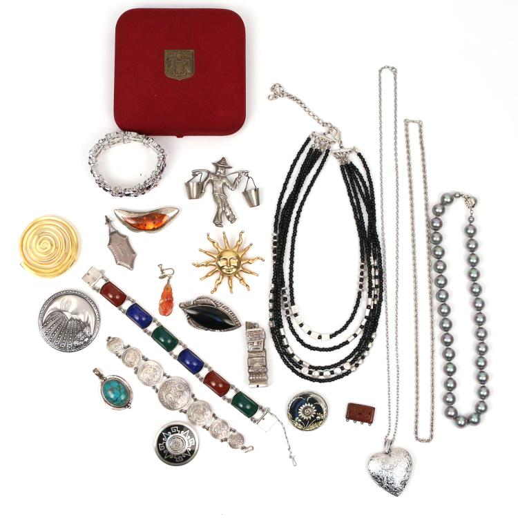 (19pc) MEXICAN SILVER AND COSTUME JEWELRY