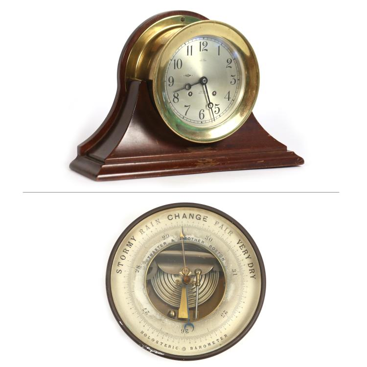(2pc) SHIP'S BELL MANTLE CLOCK