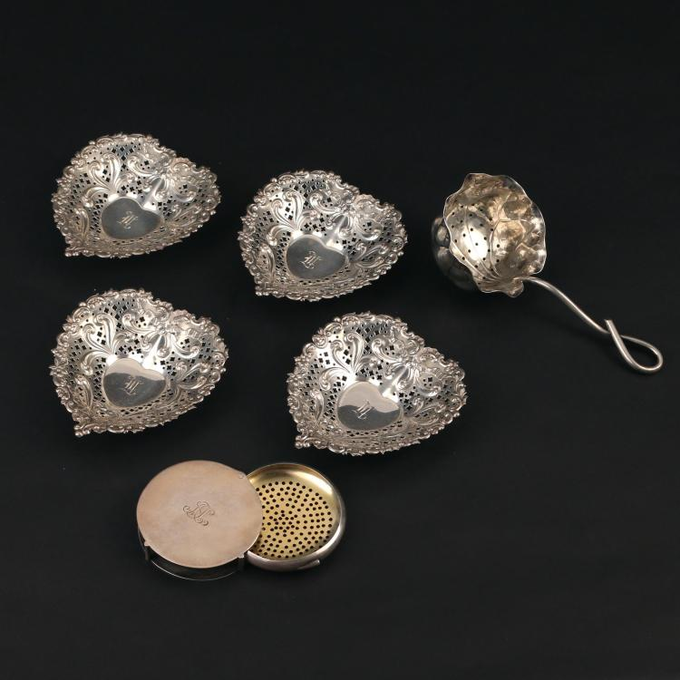 (6pc) STERLING SILVER ASHTRAYS & TEA STRAINERS