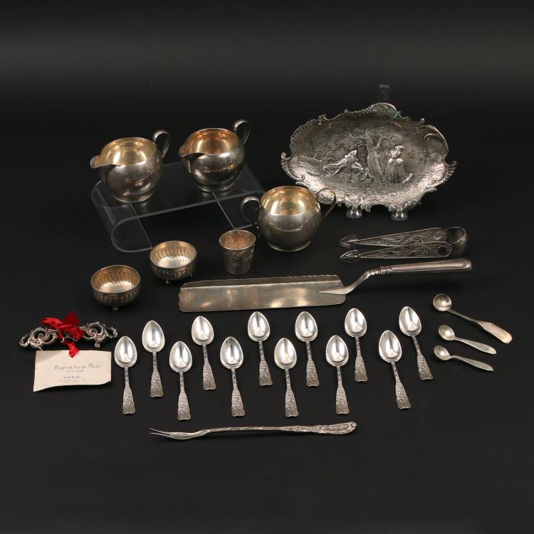 (26pc) SILVER & OTHER FLATWARE & HOLLOWARE