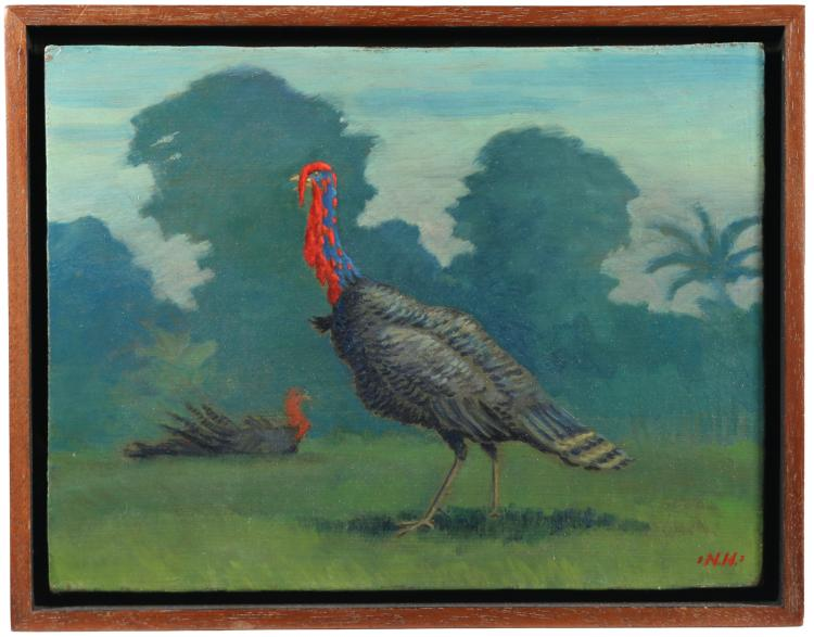 20th C. AMERICAN SCHOOL WILD TURKEY PAINTING