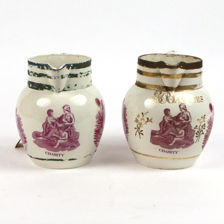 (2pc) TRANSFERWARE PITCHERS