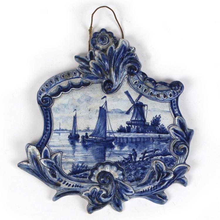 EARLY DELFT SAILING PLAQUE