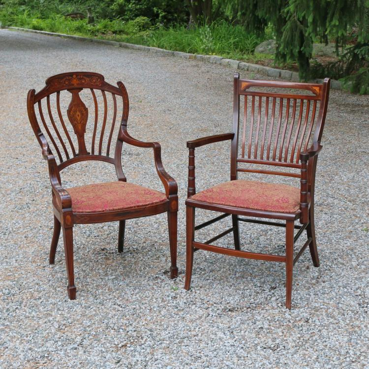 (2pc) EDWARDIAN ARMCHAIRS