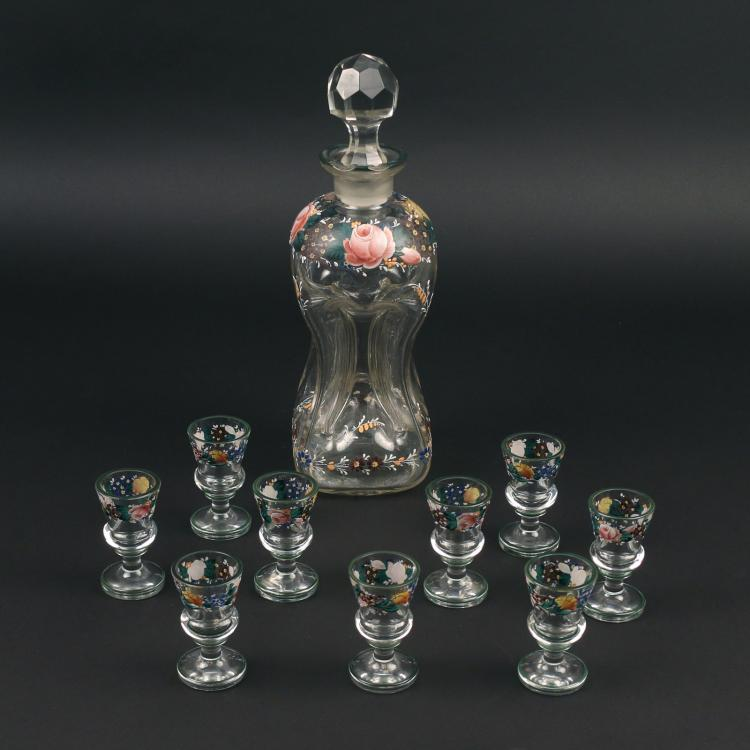 (10pc) ENAMELED GLASS SCHNAPPS SET